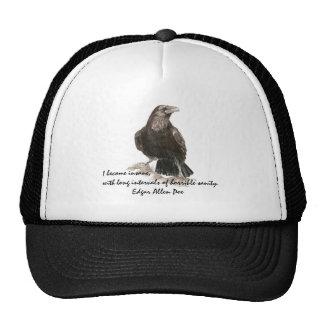 Edgar Allen Poe Insanity Quote Watercolor Raven Hats