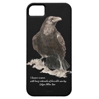 Edgar Allen Poe Insanity Quote Watercolor Raven iPhone 5 Cases