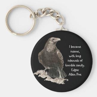 Edgar Allen Poe Insanity Quote Watercolor Raven Keychain