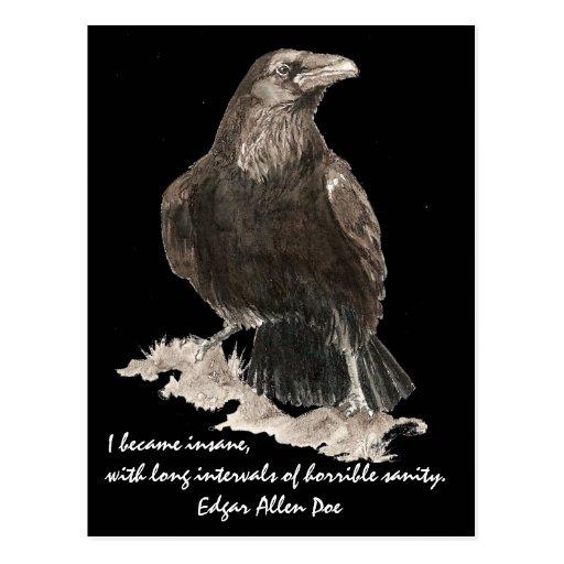 Edgar Allen Poe Insanity Quote Watercolor Raven Post Card