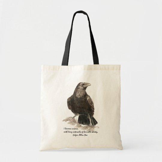 Edgar Allen Poe Insanity Quote Watercolor Raven Tote Bag
