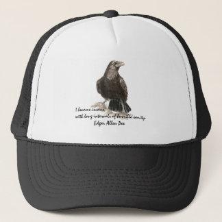 Edgar Allen Poe Insanity Quote Watercolor Raven Trucker Hat
