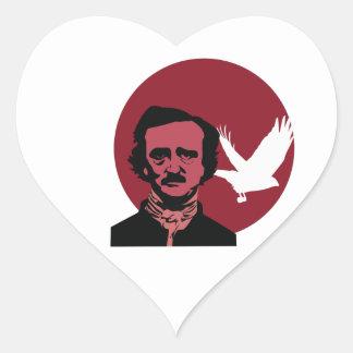 Edgar Allen Poe Calcomanía De Corazón
