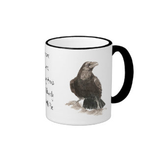 Edgar Allen Poe, Raven Insanity Quote Ringer Coffee Mug
