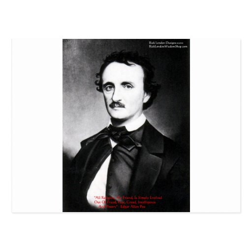 """Edgar Allen Poe """"Religion Is"""" Wisdom Quote Gifts Post Cards"""
