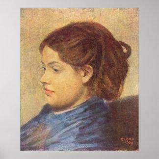 Edgar Degas - 1869 Portrait Ms Dobigny Woman Girl Poster