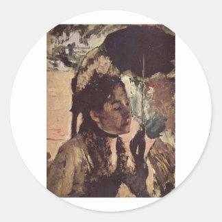 Edgar Degas - 1887-90 Woman w/ Parasol @ Tuileries Classic Round Sticker