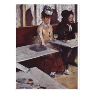 Edgar Degas - Absinthe 1876 man Woman Cafe oil Postcard