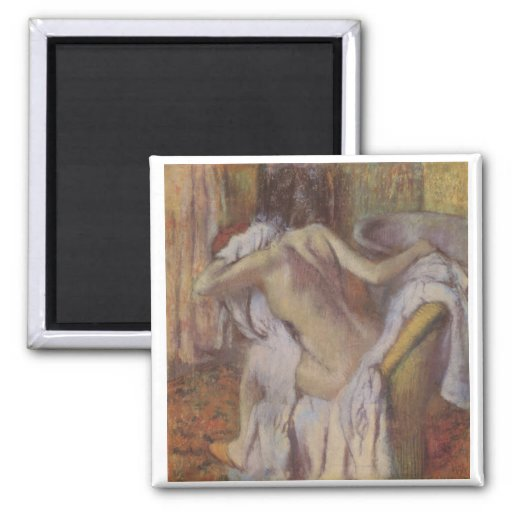Edgar Degas - After Bath to Dry Wife nude 1896-98 2 Inch Square Magnet