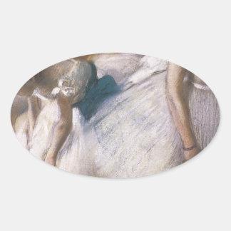 Edgar Degas antes del ensayo Pegatina Ovalada