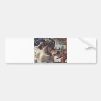Edgar Degas - At Mirror 1899 Pastel Paper dancer Bumper Sticker