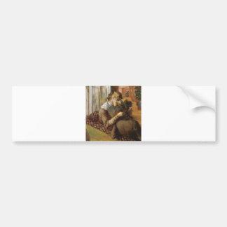 Edgar Degas - At the Milliners 1881 Pastel paper Bumper Sticker