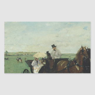 Edgar Degas – At the Races in the Countryside Rectangular Sticker