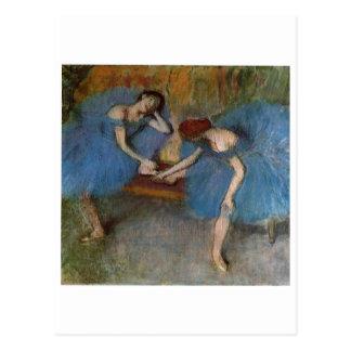 Edgar Degas - bailarín azul del Redhead del tutú d Postales