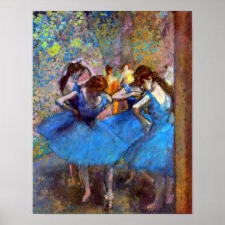 Edgar Degas - bailarines en azul Póster