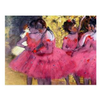 Edgar Degas - bailarines en rosa entre las escenas Tarjetas Postales
