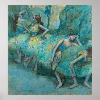 Edgar Degas - Ballet Dancers in Wings 1900 Pastel Poster