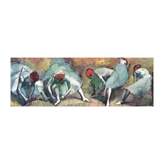 Edgar Degas - Ballet Dancers Tying Shoes Canvas Print