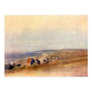 Edgar Degas - casas en los acantilados sobre una b Tarjeta Postal