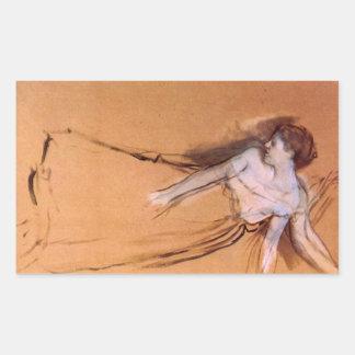 Edgar Degas - colocándose con los brazos estirados Pegatina Rectangular