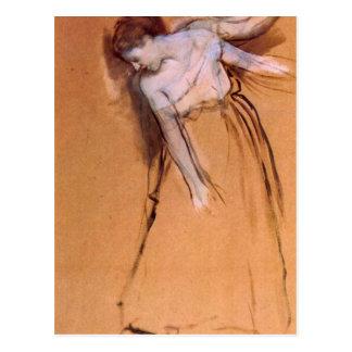 Edgar Degas - colocándose con los brazos estirados Postal
