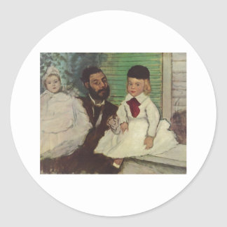 Edgar Degas - Count Lepic & his Daughters 1870 oil Classic Round Sticker