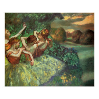 Edgar Degas cuatro bailarines Póster