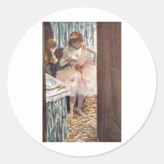 Edgar Degas - Dancer in her Box 1879 Ballerina Classic Round Sticker