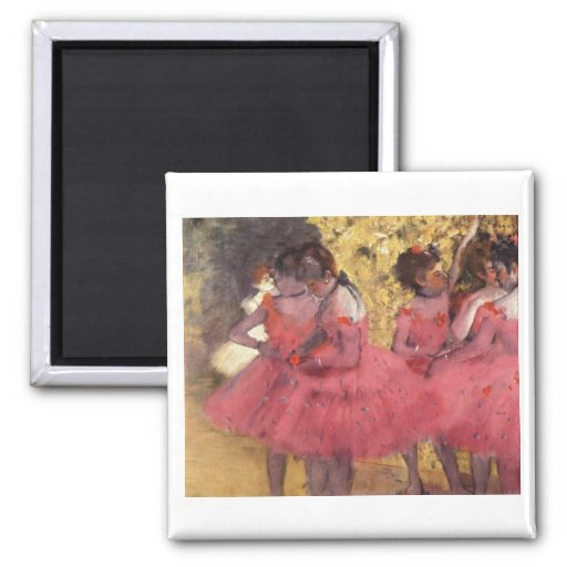 Edgar Degas - Dancer in Pink in Wing 1884 oil 2 Inch Square Magnet