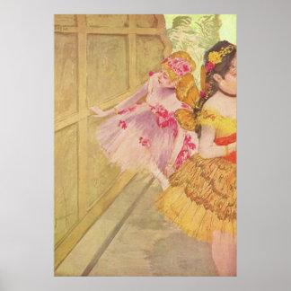Edgar Degas - Dancers behind Backdrop 1880 pastel Poster