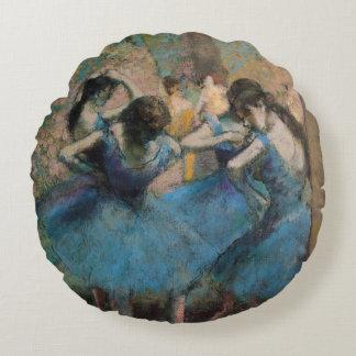 Edgar Degas | Dancers in blue, 1890 Round Pillow