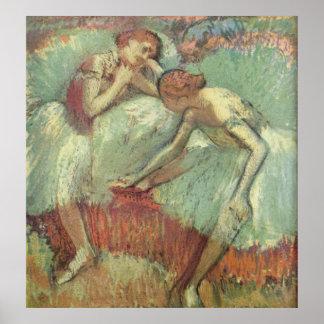 Edgar Degas - Dancers in Green 1898 Ballet Pastel Poster