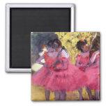 Edgar Degas - Dancers in pink between the scenes 2 Inch Square Magnet