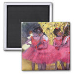 Edgar Degas - Dancers in pink between the scenes 2 Inch Square Magnet