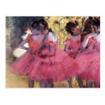 Edgar Degas - Dancers in pink between the scenes Postcard