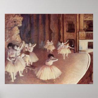 Edgar Degas - Dress Rehearsal Ballet Stage 1873-74 Poster