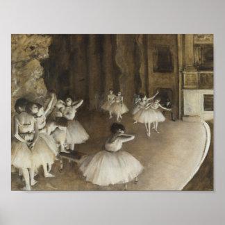 Edgar Degas - ensayo del ballet en etapa Póster