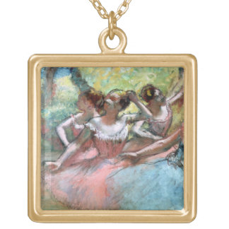 Edgar Degas | Four ballerinas on the stage Gold Plated Necklace