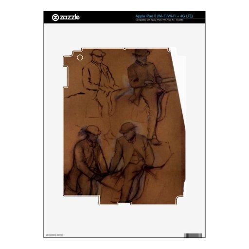 Edgar Degas - Four riders - A study Skin For iPad 3