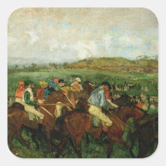 Edgar Degas | Gentlemen race, Before the Departure Square Sticker