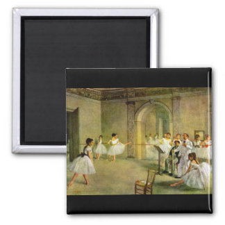 Edgar Degas - Hall of the Opera Ballet in the Rue 2 Inch Square Magnet