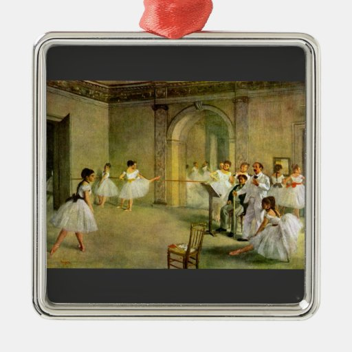 Edgar Degas - Hall of the Opera Ballet in the Rue Square Metal Christmas Ornament