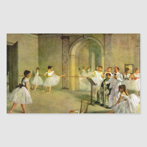 Edgar Degas - Hall of the Opera Ballet in the Rue Rectangle Stickers