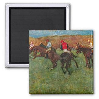 Edgar Degas - Horse race before the start 2 Inch Square Magnet