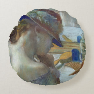 Edgar Degas | In Front of the Mirror, 1889 Round Pillow