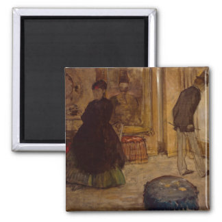 Edgar Degas | Interior with Two Figures, 1869 2 Inch Square Magnet