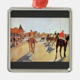 Edgar Degas - jinetes delante de la gradería Adorno Cuadrado Plateado