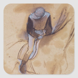 Edgar Degas | Jockey flexed forward standing Square Sticker