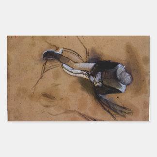 Edgar Degas - Jockey forward flexed standing in th Rectangular Sticker
