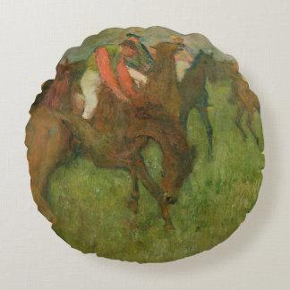 Edgar Degas | Jockeys, 1886-90 Round Pillow